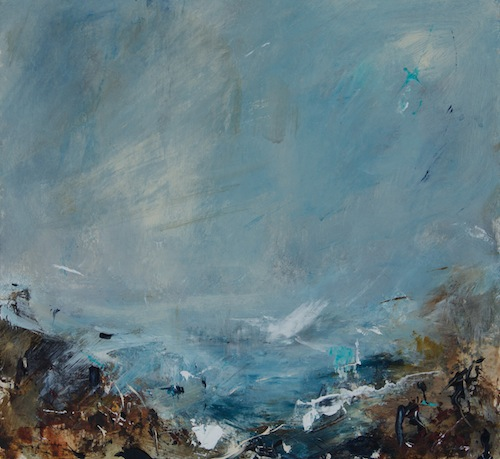 Christine Linfield As the Mist Lifts 25x23 cm acrylic on board